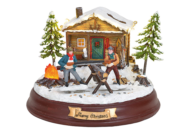 Winterscene tree feller with light music and movable figures poly colorful 20x15x20cm