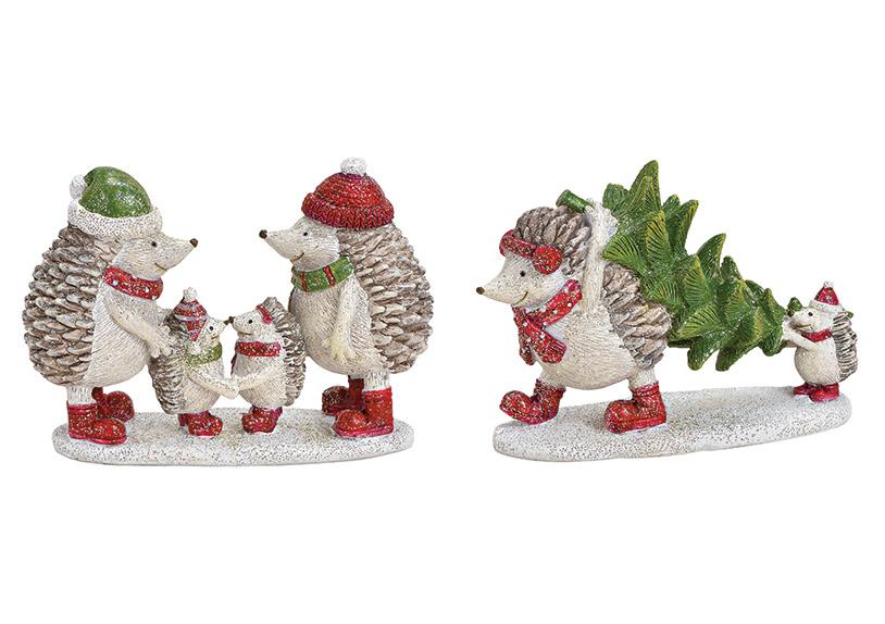 rodina ježků se chystá na Vánoce 12x9x4 cm, polyresin - 2 druhy