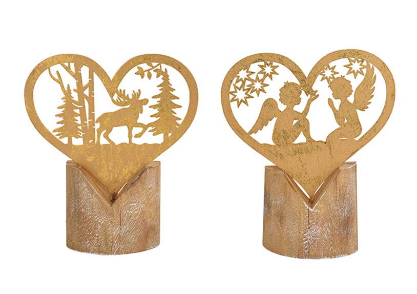 vánoční dekorace 19x22x5 cm, dřevo a kov - 2 druhy