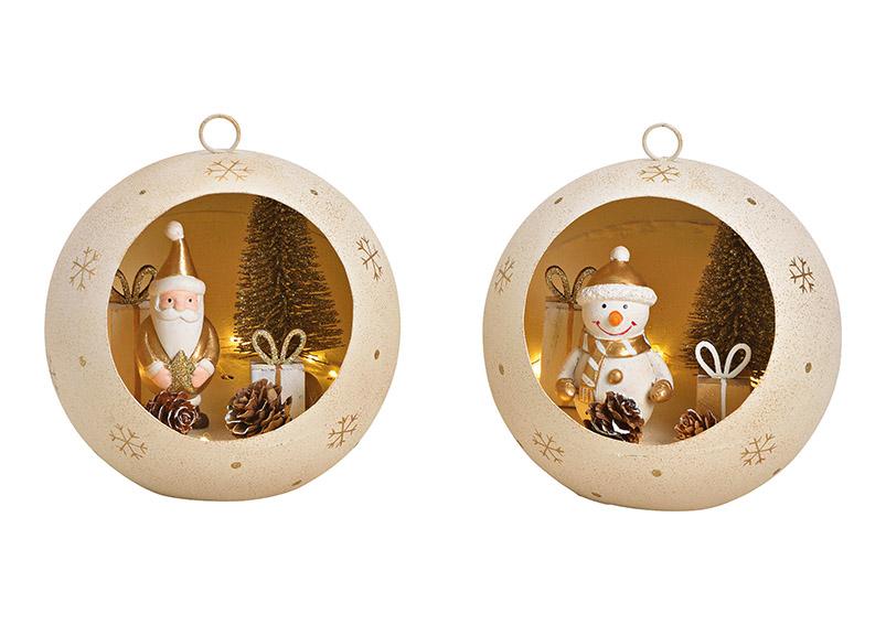 vánoční ozdoba s LED osvětlením 14x15x14 cm, kov - 2 druhy