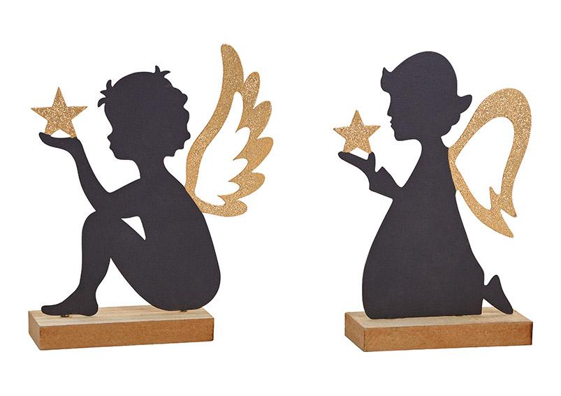 anděl s hvězdou 13x19x4 cm, kov a dřevo - 2 druhy