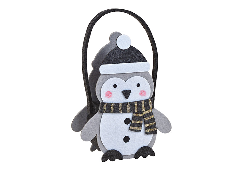 Bag penguin felt grey 17x22x8cm