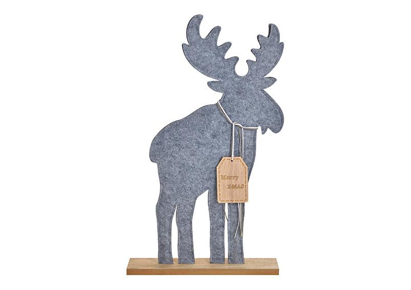 Elk merry christmas felt grey 35x59x7cm