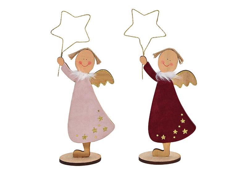 anděl s hvězdou 12x30x8 cm, dřevo - 2 druhy