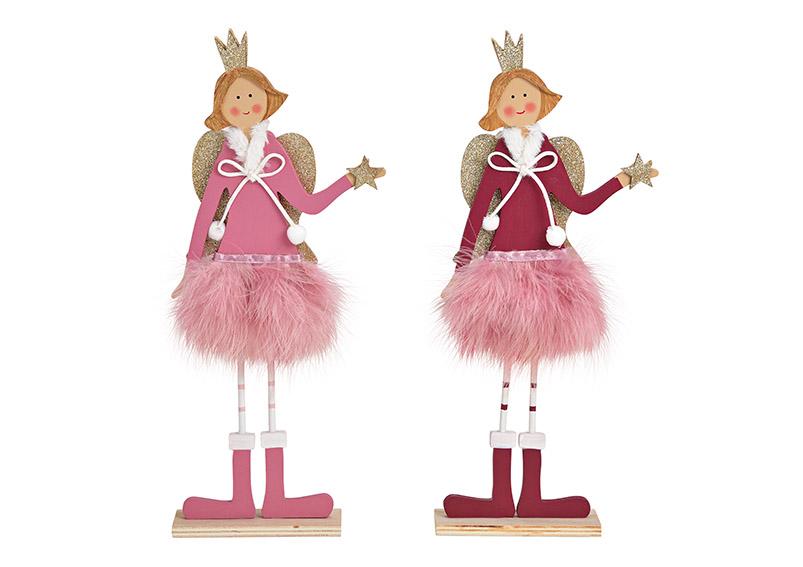 princezna andělka 12x37x5 cm, dřevo a peří - 2 druhy