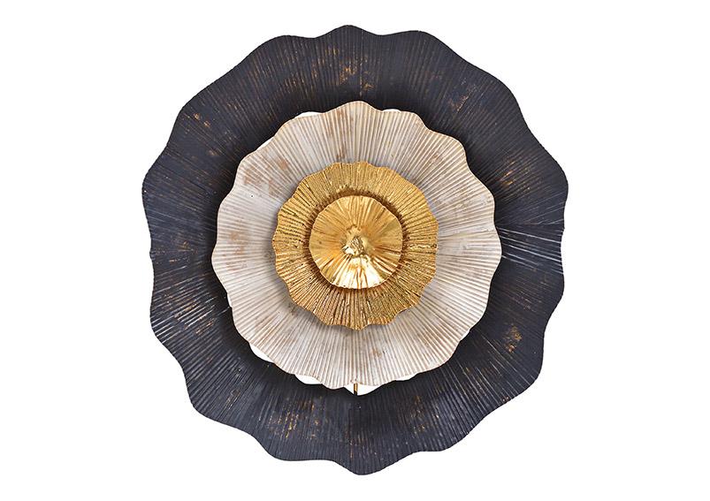 Wall hanger 3D flower metal black/gold ⌀ 34cm