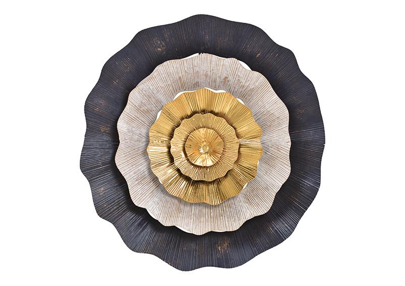 Wallhanger flower metal black/gold ⌀ 49cm