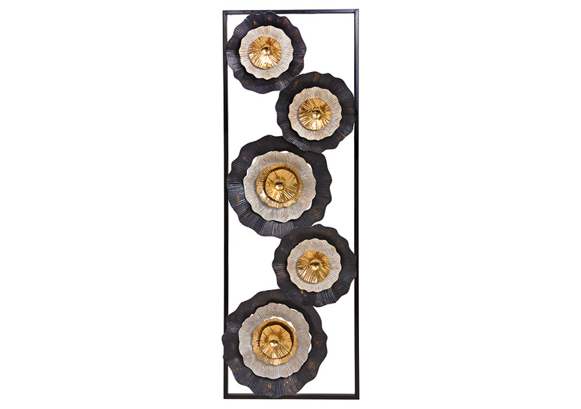 Wall picture 3D flower metal black/gold 31x90x4cm