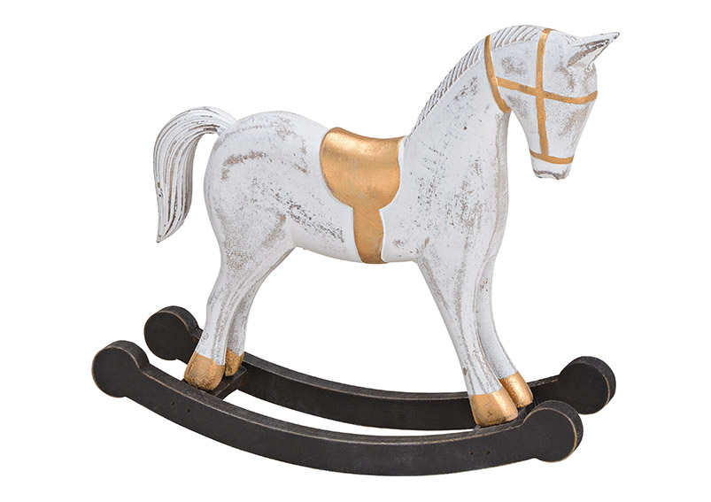Rocking horse wood white 25x22x7cm