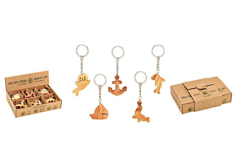 přívěšek na klíče MARITIME 5x14 cm, olivové dřevo a kov - 5 druhů