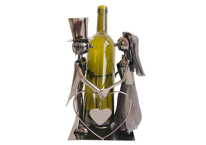 kovový stojan na vínovou láhev WEDDING COUPLE KISSING