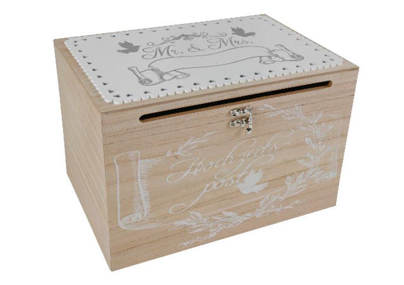 dřevěný box WEDDING 30x20x20 cm, dřevo