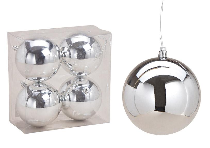 sada čtyř vánočních ozdob SILVER ⌀ 10 cm, plast