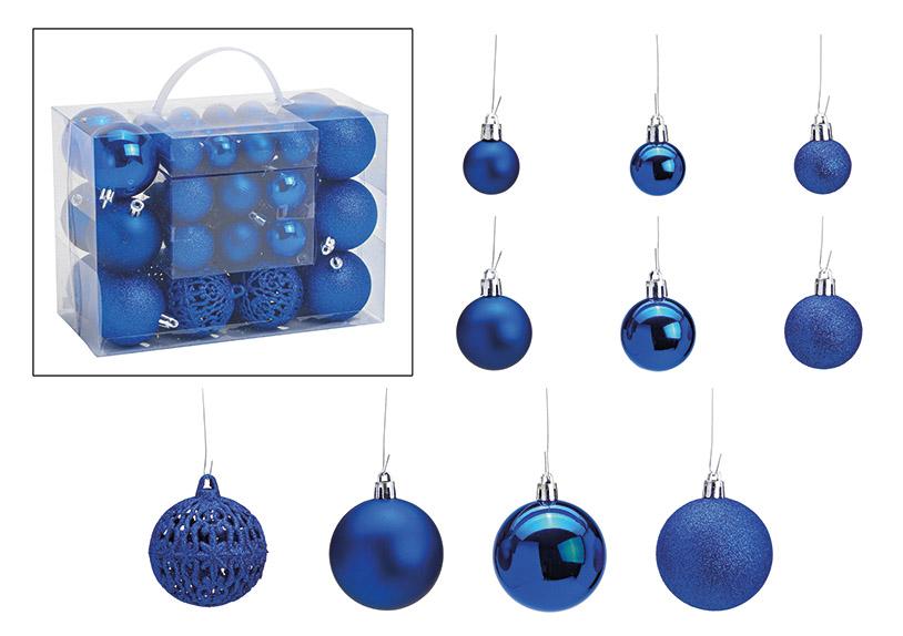 sada padesát ozdob BLUE ⌀ 3/4/6 cm, plast