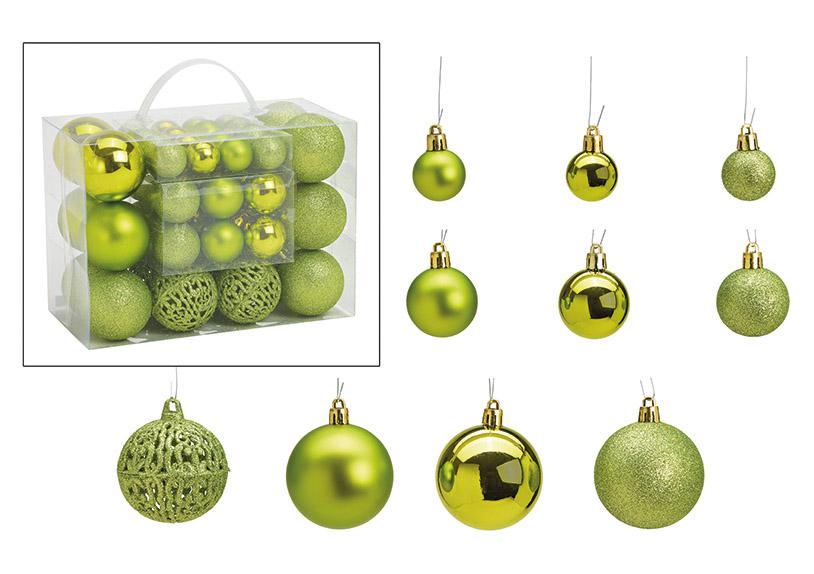 sada padesát ozdob LIME GREEN ⌀ 3/4/6 cm, plast