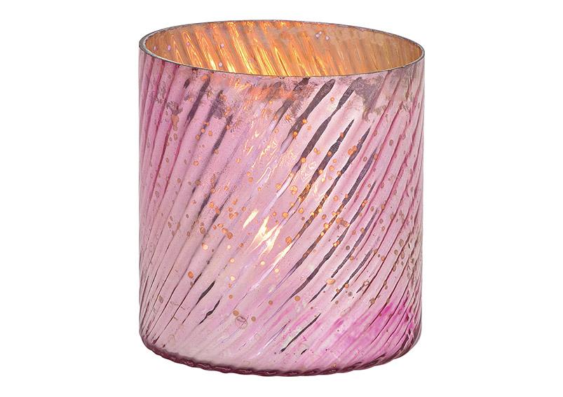 Wind light made of glass pink / pink (W / H / D) 8x10x8cm ⌀ 8cm