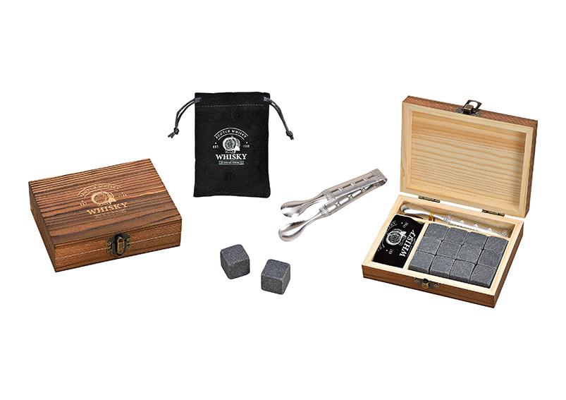 whisky sada chladících kamenů s kleštěmi v dřevěné krabičce 13x10x4 cm