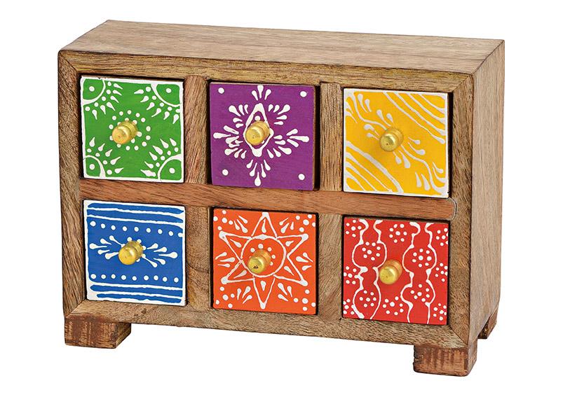 mini skříňka s 6 šuplíky 20x15x8 cm, mangové dřevo