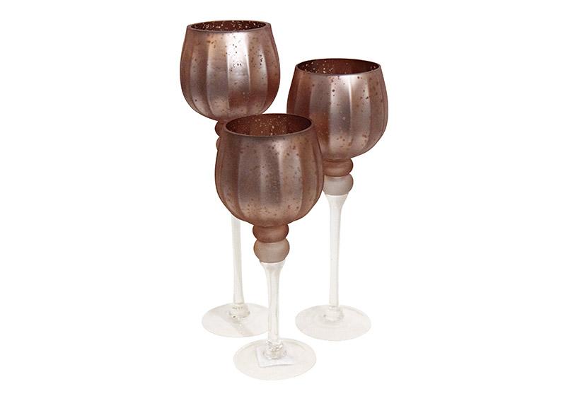 tři svícny na čajovou svíčku na stopce MATT PINK 13x30/35/40 cm, sklo