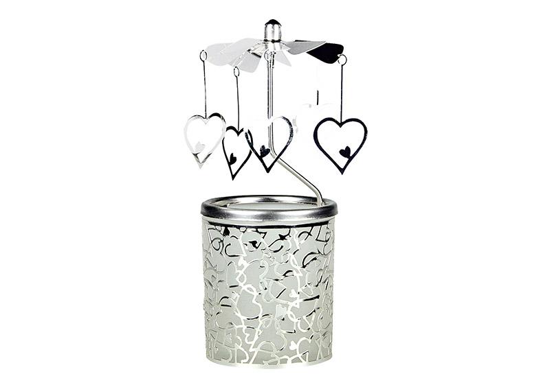 andělské zvonění HEART 6x6x15 cm, sklo a kov