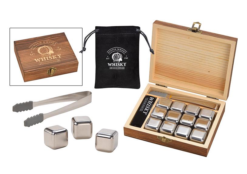 whisky sada chladících kamenů s kleštěmi v dřevěné krabičce 14x13x4 cm