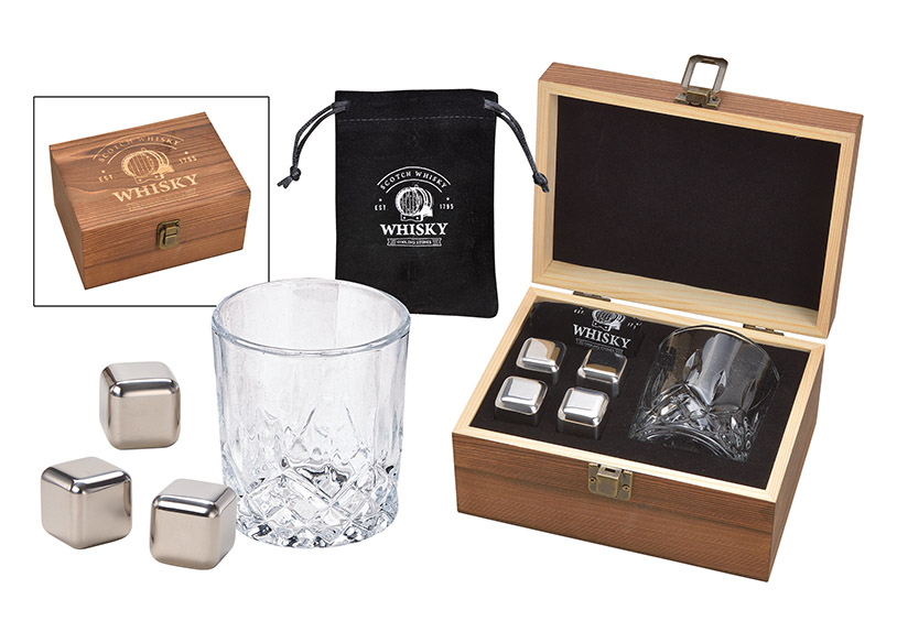 dárková sada na whisky v dřevěné krabičce 19x10x14 cm
