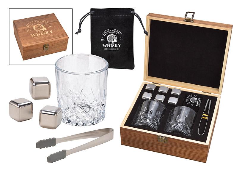 dárková sada na whisky v dřevěné krabičce 24x10x21 cm