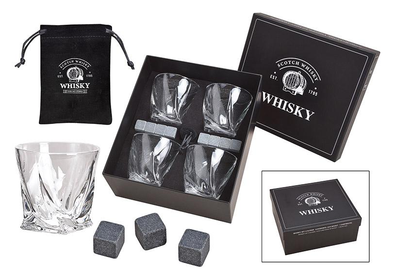 dárková sada na whisky v kartonové krabičce 26x11x23 cm