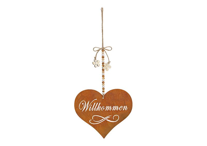 závěsné kovové srdce WILLKOMMEN 19x30 cm