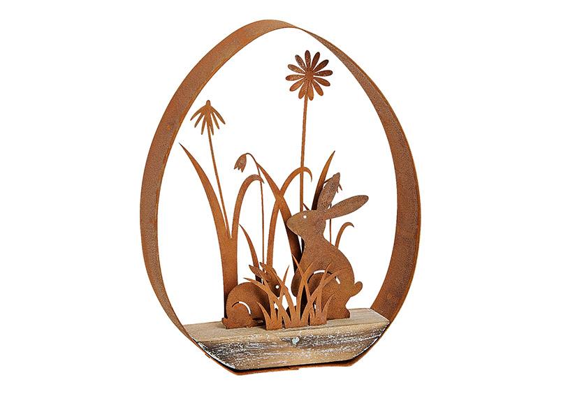 stolní dekorace EGG WITH RABBIT 15x19x3 cm, kov a dřevo