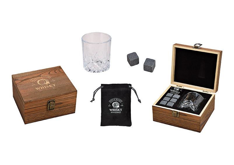 dárková sada na whisky v dřevěné krabičce 18x10x16 cm