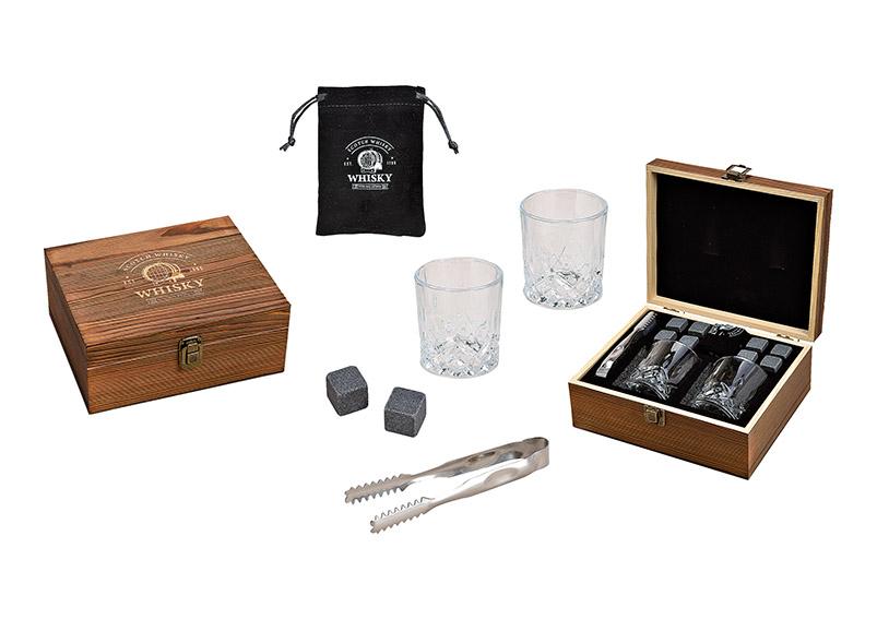 dárková sada na whisky v dřevěné krabičce 23x10x20 cm