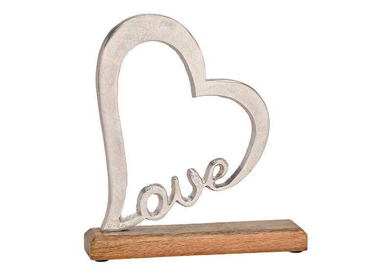 srdce LOVE na podstavci 23x25x5 cm, kov a mangové dřevo
