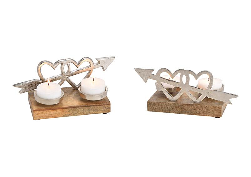 svícen DOUBLE HEART 24x10x10 cm, kov a mangové dřevo