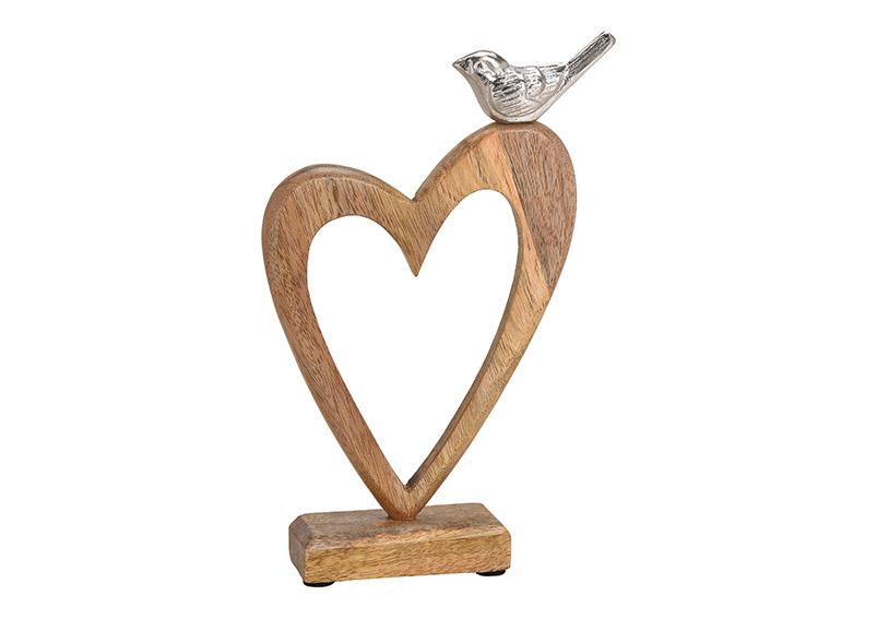 srdce z mangového dřeva s kovovým ptáčkem na podstavci 18x26x5 cm