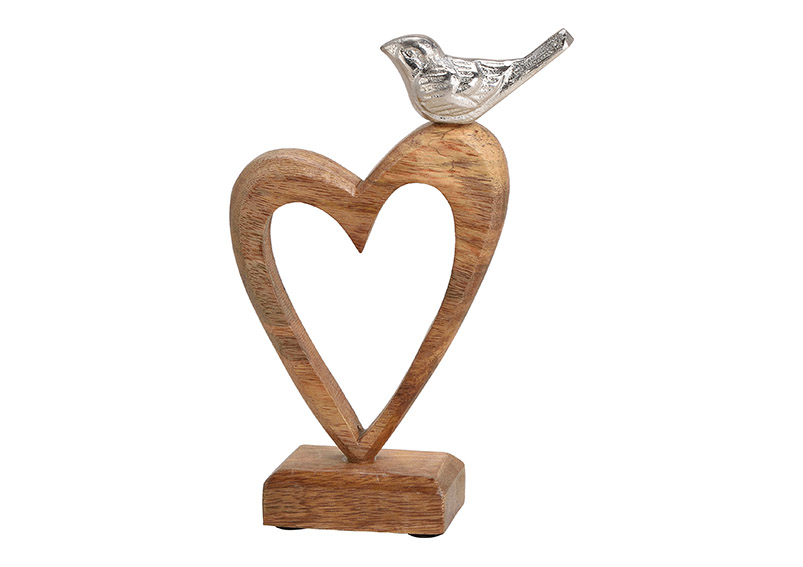 srdce z mangového dřeva s kovovým ptáčkem na podstavci 15x22x5 cm