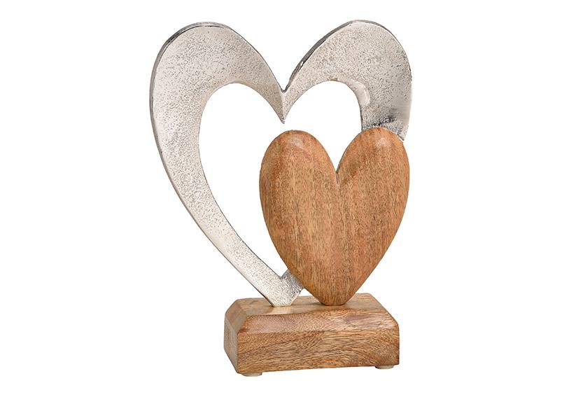 srdce na podstavci 16x21x6 cm, mangové dřevo a kov