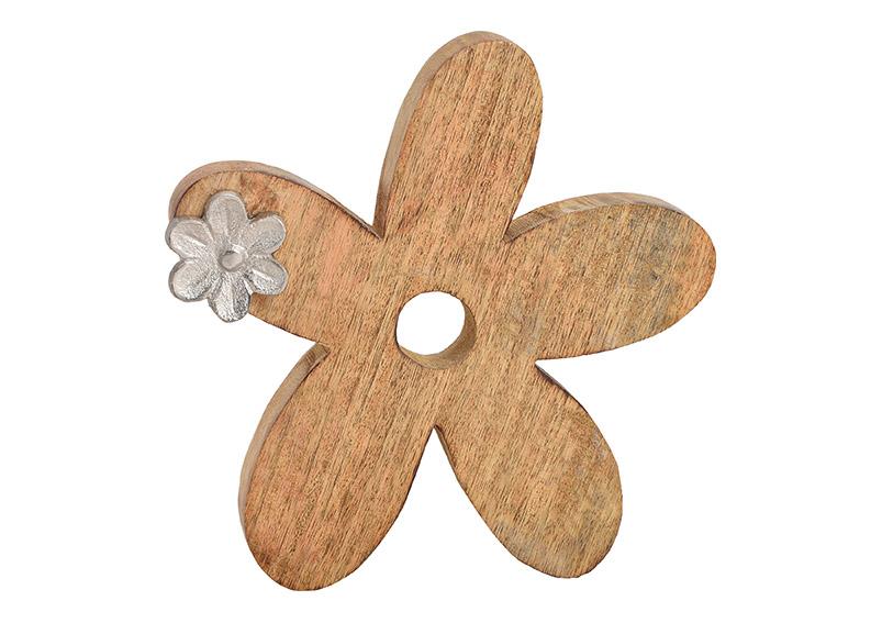 Flower mangowood, metal, brown, silver, 21x20x3cm