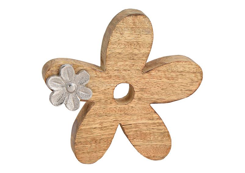 Flower, mangowood, metal, brown silver, 15x15x3cm