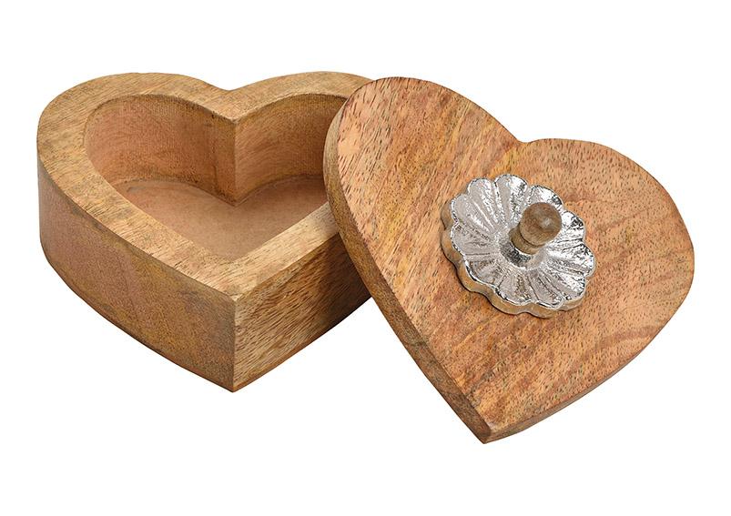 box ve tvaru srdce z mangového dřeva 13x7x13 cm