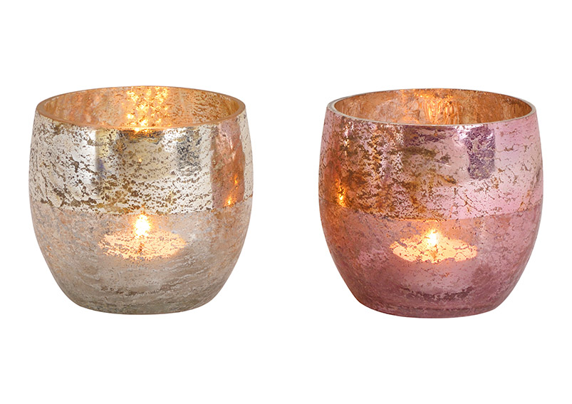 Windlight glass Champagner, pink 2 asst. 10x9x10cm