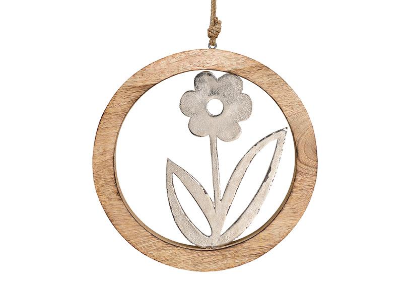 závěsná květina v kruhovém rámečku 25x25x2 cm, kov a mangové dřevo