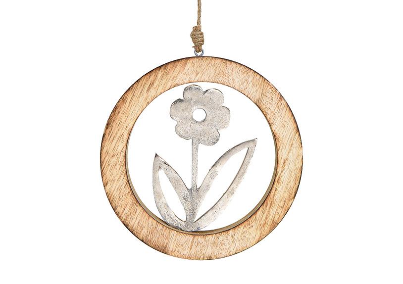 závěsná květina v kruhovém rámečku 20x20x2 cm, kov a mangové dřevo