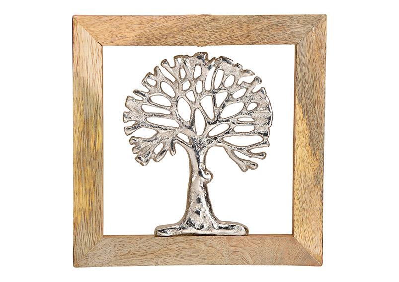 kovový strom v rámu z mangového dřeva 20x20x2 cm