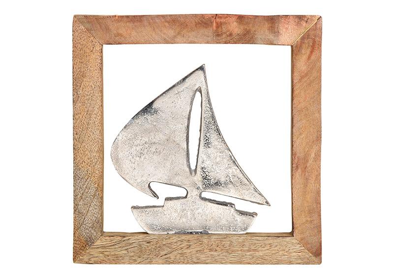 kovová plachetnice v rámu z mangového dřeva 20x20x2 cm