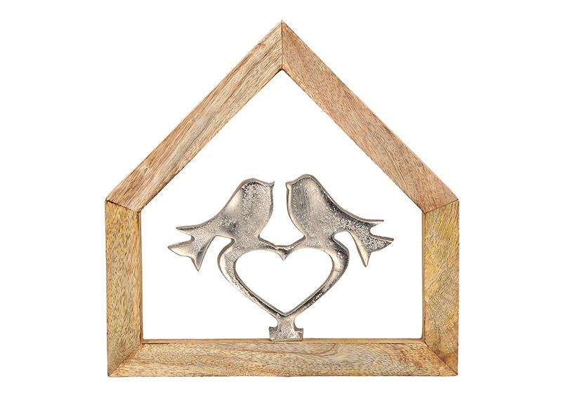 ptáčci na srdíčku v rámu z mangového dřeva 22x22x2 cm