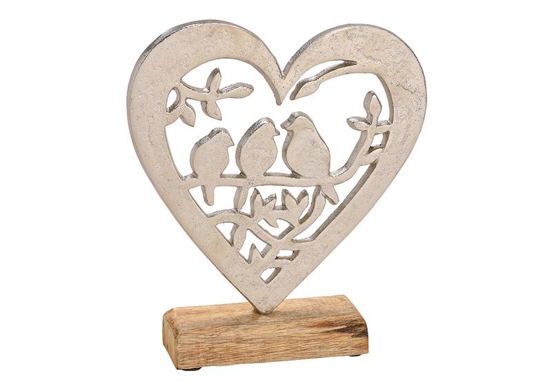 srdce s ptáčky z kovu na mangovém dřevu 20x22x5 cm