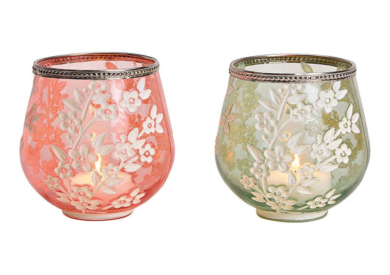 sklenička na čajovou svíčku FLOWER 13x3x13 cm - 2 druhy