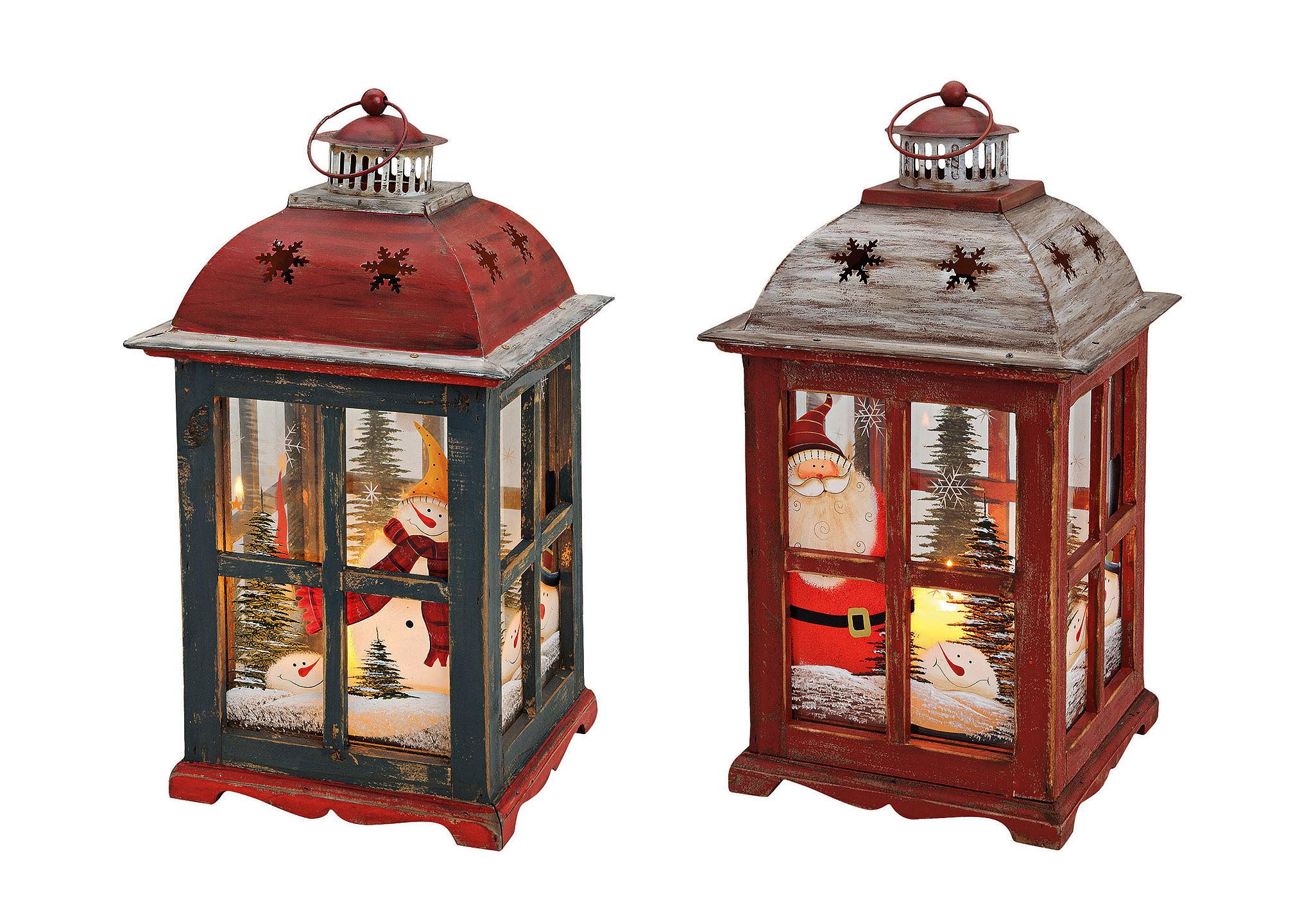 lucerna XMAS 22x22x40 cm, dřevo, kov a sklo - dva druhy