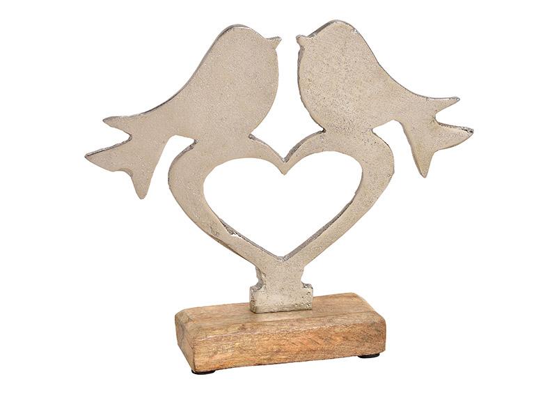 srdíčko s ptáčky na podstavci 24x21x5 cm, kov a mangové dřevo